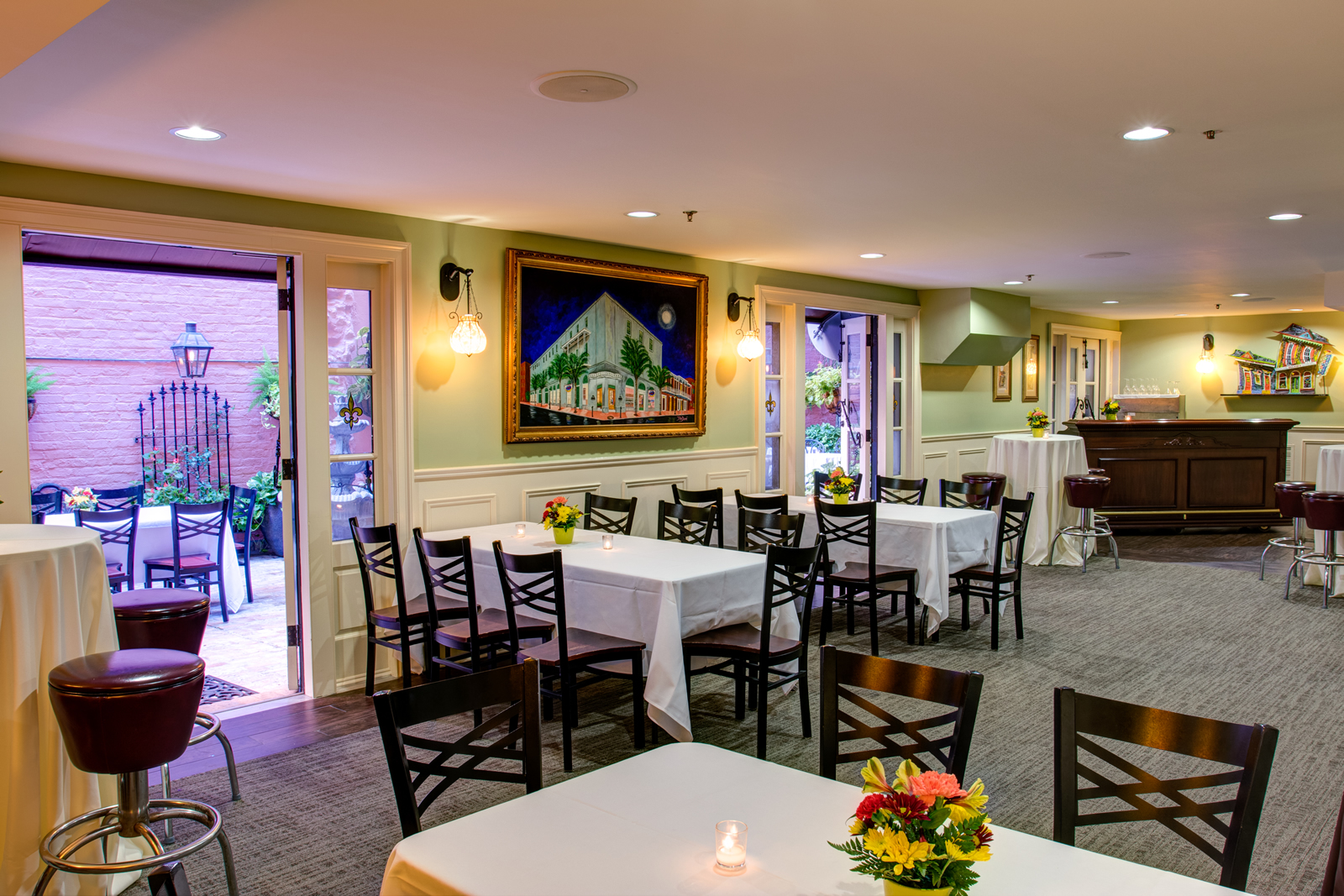 Private Party room opens into French Quarter courtyard for private parties and dining in New Orleans
